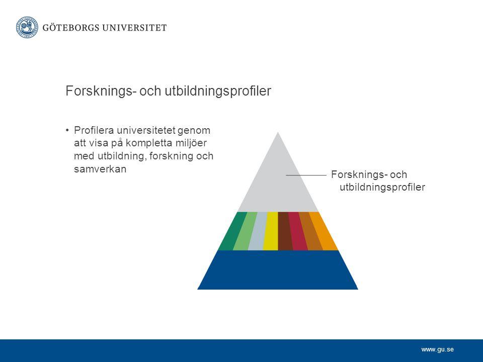 www.gu.se Forsknings- och utbildningsprofiler Profilera universitetet genom att visa på kompletta miljöer med utbildning, forskning och samverkan