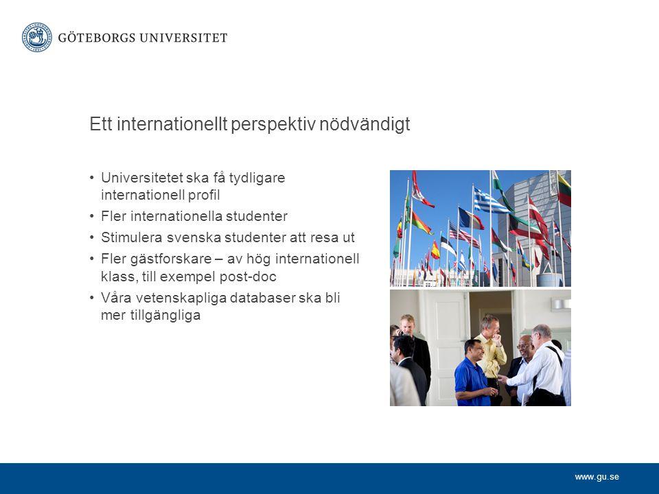 www.gu.se Universitetet ska få tydligare internationell profil Fler internationella studenter Stimulera svenska studenter att resa ut Fler gästforskare – av hög internationell klass, till exempel post-doc Våra vetenskapliga databaser ska bli mer tillgängliga Ett internationellt perspektiv nödvändigt