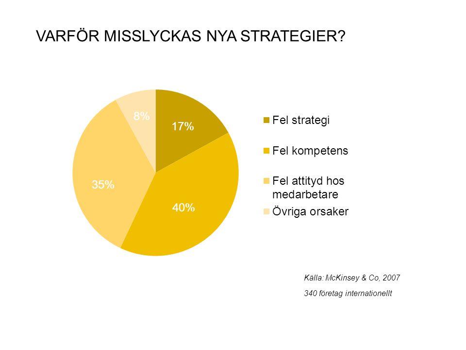 VARFÖR MISSLYCKAS NYA STRATEGIER? 2 Källa: McKinsey & Co, 2007 340 företag internationellt 40% 35% 8% 17%