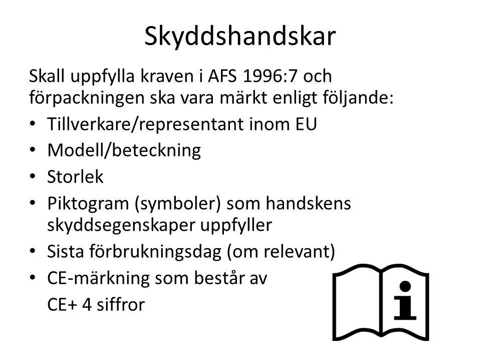 Skyddshandskar Skall uppfylla kraven i AFS 1996:7 och förpackningen ska vara märkt enligt följande: Tillverkare/representant inom EU Modell/beteckning