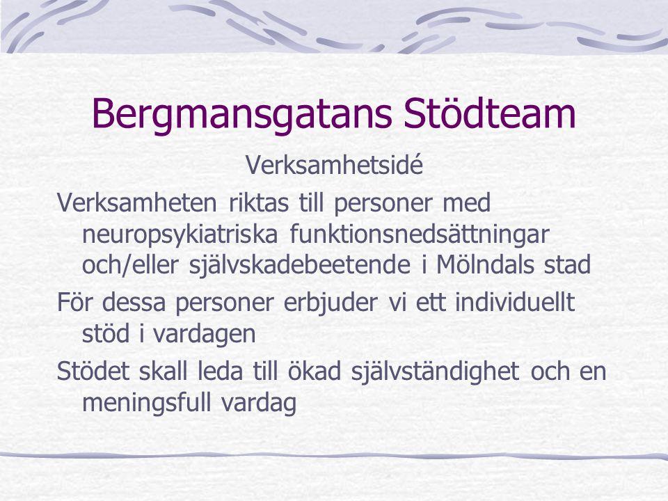 Bergmansgatans Stödteam Verksamhetsidé Verksamheten riktas till personer med neuropsykiatriska funktionsnedsättningar och/eller självskadebeetende i M