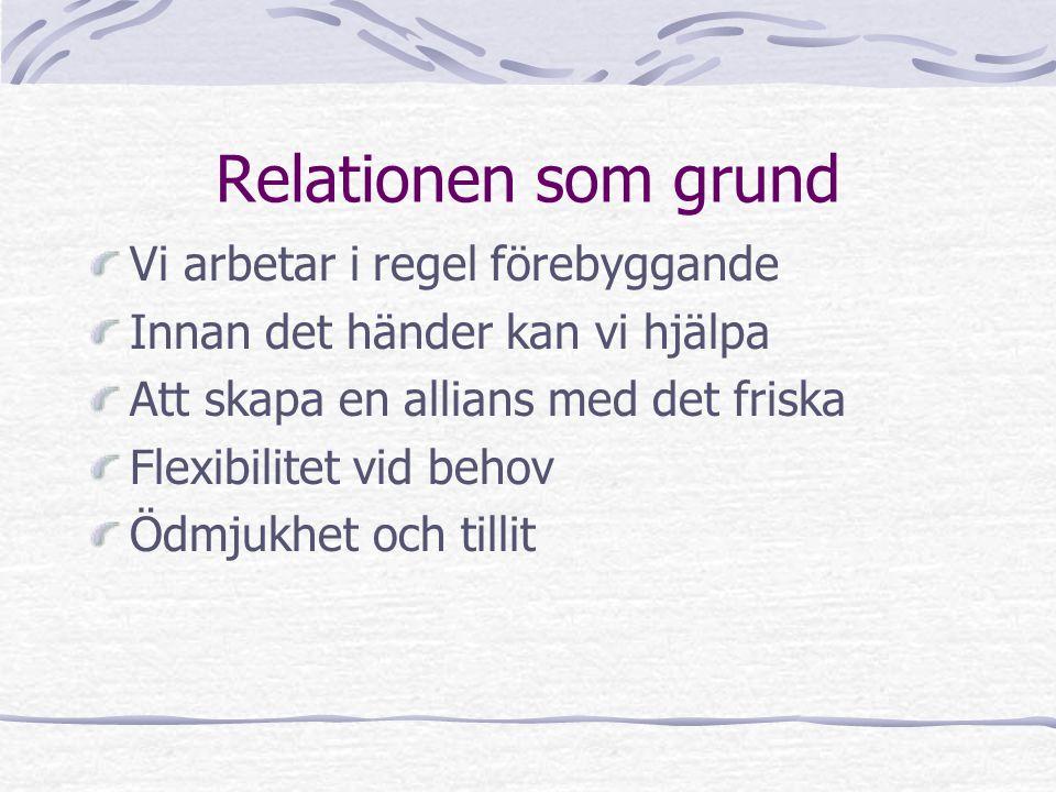 Relationen som grund Vi arbetar i regel förebyggande Innan det händer kan vi hjälpa Att skapa en allians med det friska Flexibilitet vid behov Ödmjukh