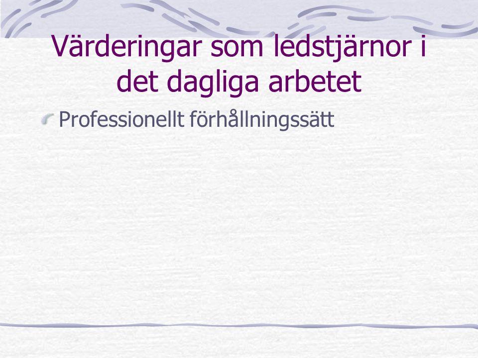 Värderingar som ledstjärnor i det dagliga arbetet Professionellt förhållningssätt