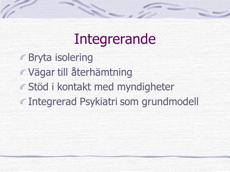 Integrerande Bryta isolering Vägar till återhämtning Stöd i kontakt med myndigheter Integrerad Psykiatri som grundmodell