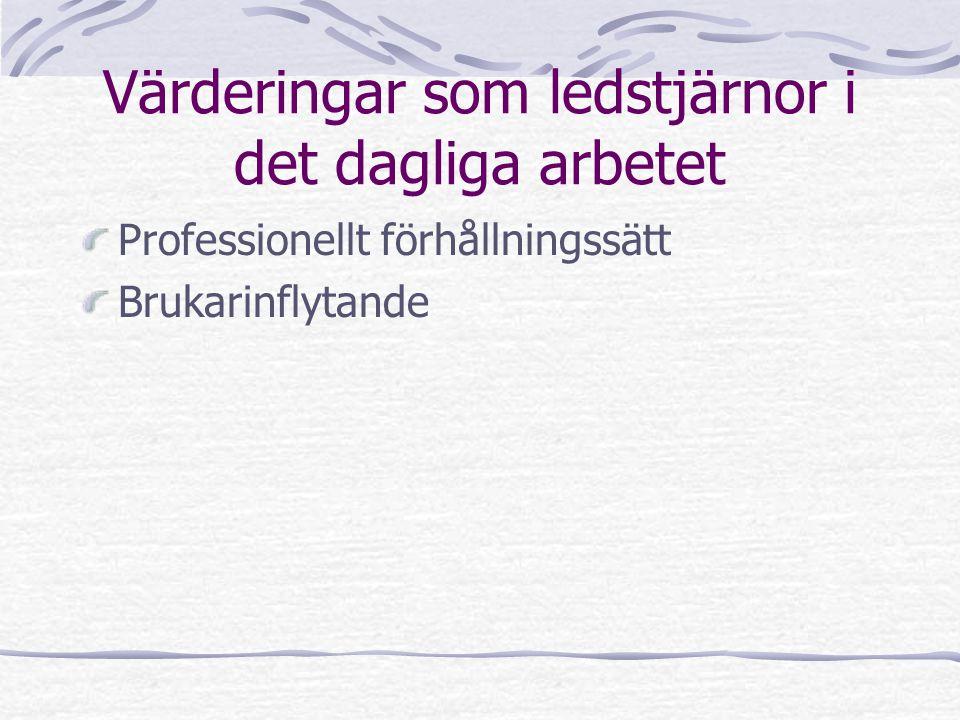 Värderingar som ledstjärnor i det dagliga arbetet Professionellt förhållningssätt Brukarinflytande