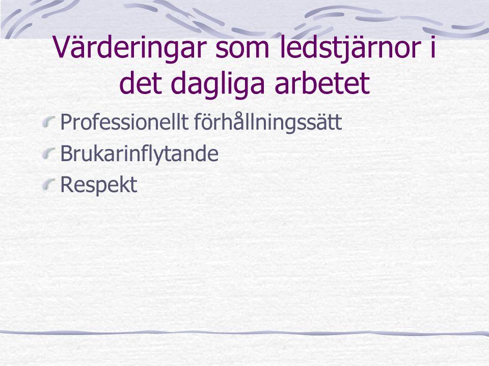 Värderingar som ledstjärnor i det dagliga arbetet Professionellt förhållningssätt Brukarinflytande Respekt