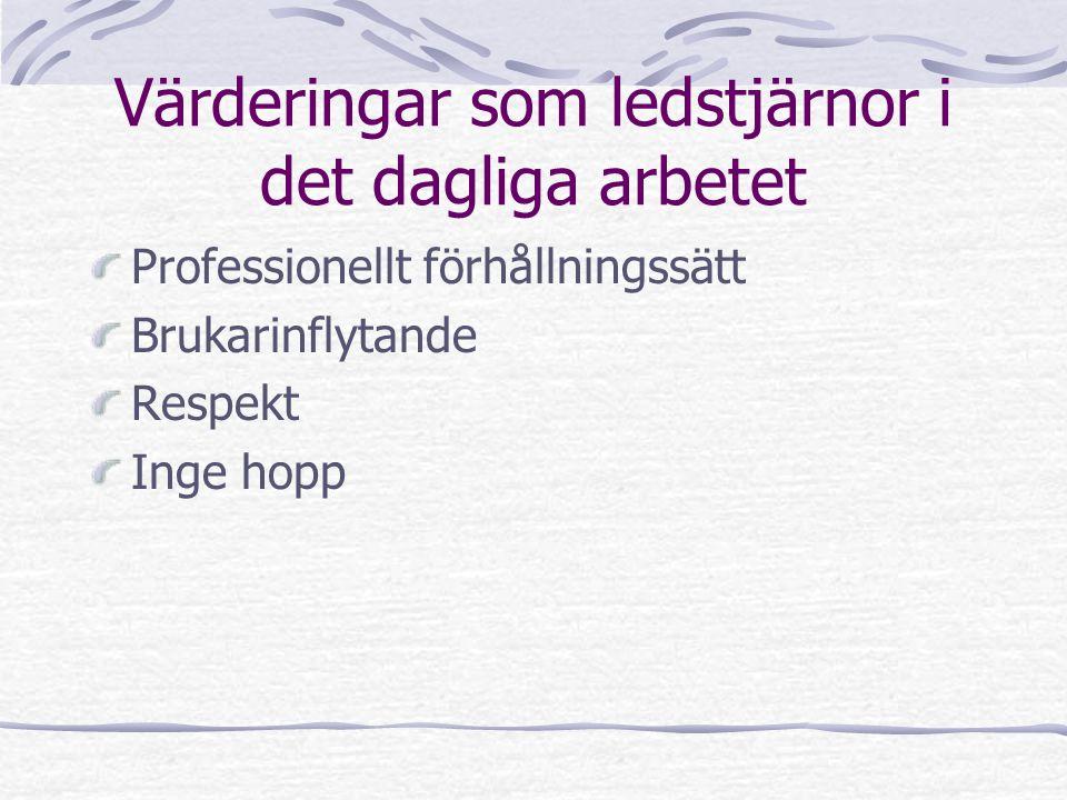 Värderingar som ledstjärnor i det dagliga arbetet Professionellt förhållningssätt Brukarinflytande Respekt Inge hopp