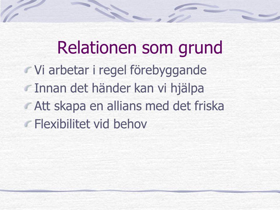 Relationen som grund Vi arbetar i regel förebyggande Innan det händer kan vi hjälpa Att skapa en allians med det friska Flexibilitet vid behov