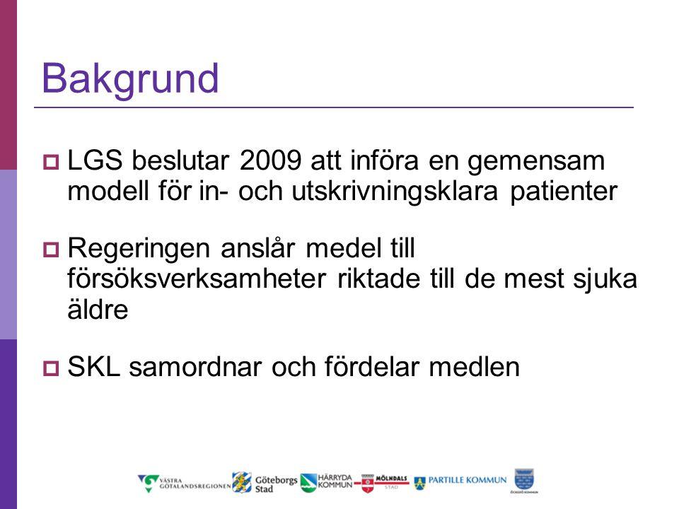 Bakgrund  LGS beslutar 2009 att införa en gemensam modell för in- och utskrivningsklara patienter  Regeringen anslår medel till försöksverksamheter