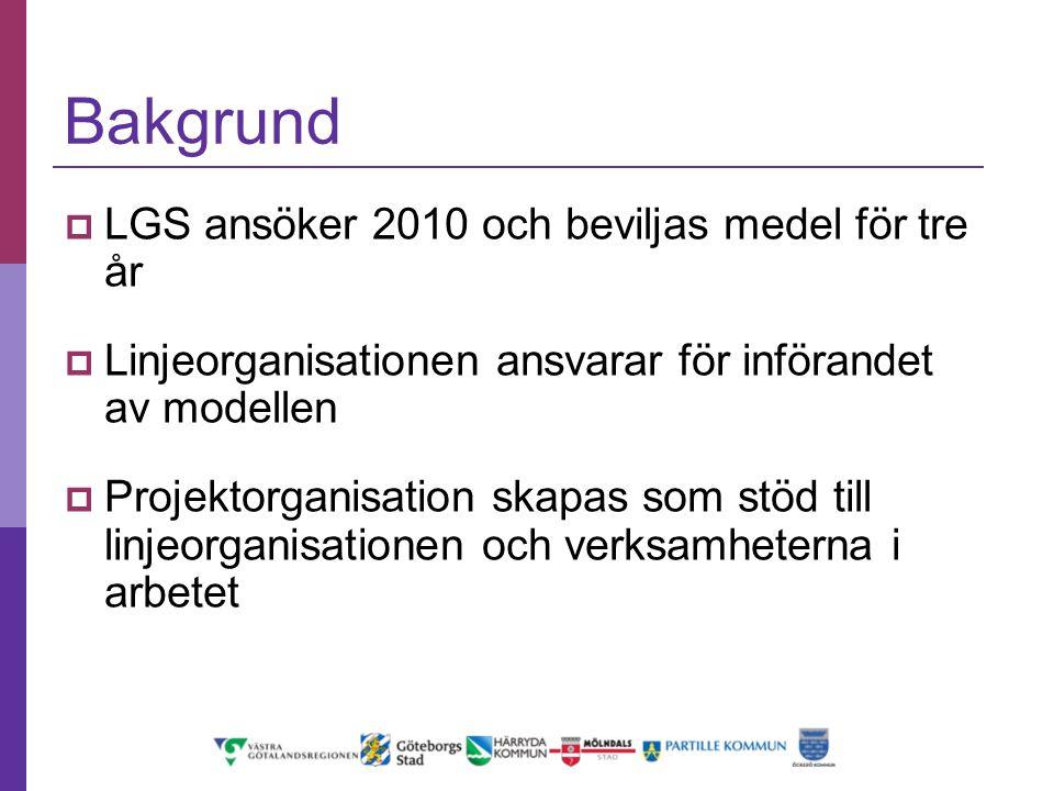 Bakgrund  LGS ansöker 2010 och beviljas medel för tre år  Linjeorganisationen ansvarar för införandet av modellen  Projektorganisation skapas som s