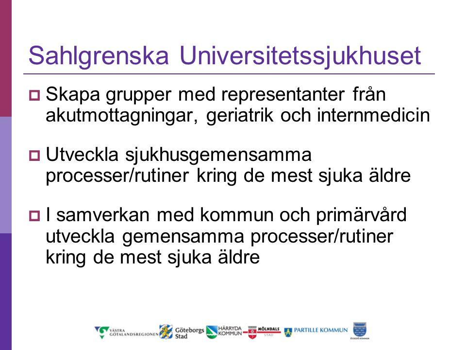 Sahlgrenska Universitetssjukhuset  Skapa grupper med representanter från akutmottagningar, geriatrik och internmedicin  Utveckla sjukhusgemensamma p