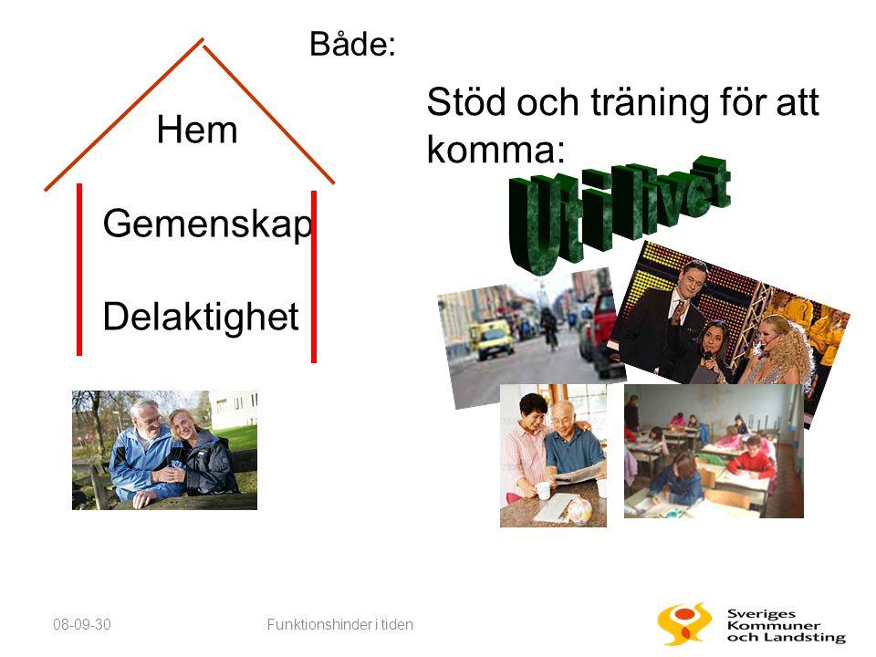 08-09-30Funktionshinder i tiden Hem Gemenskap Delaktighet Trivsel Stöd och träning för att komma: Både: