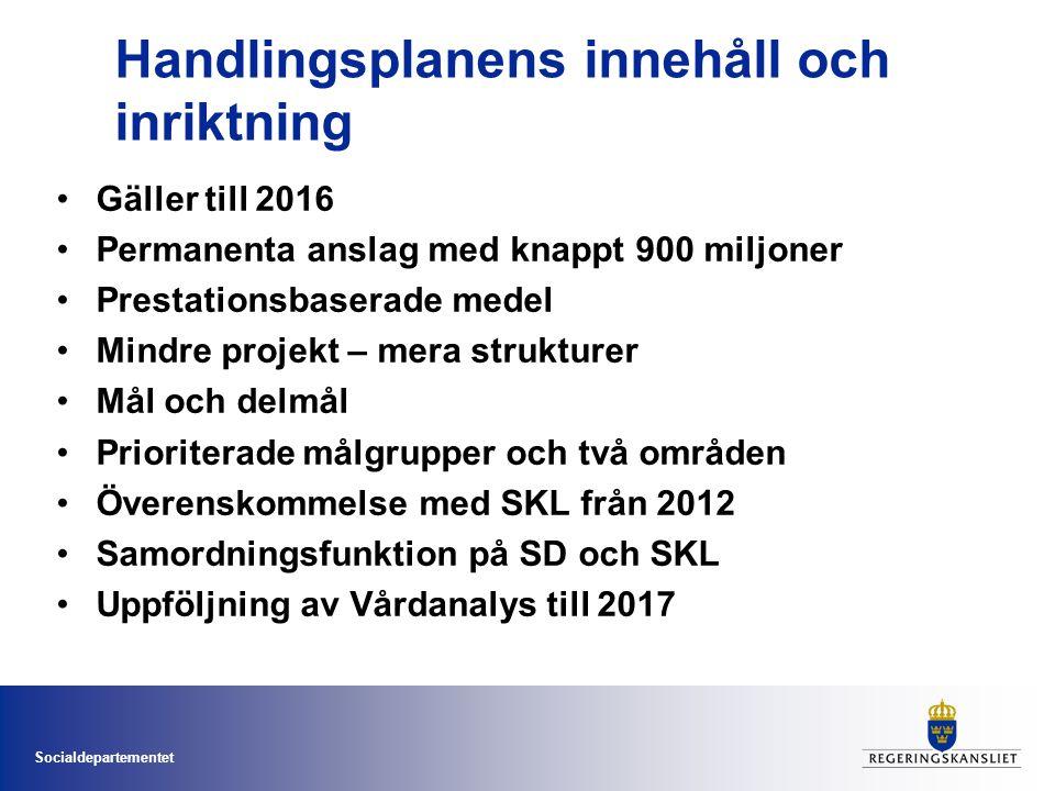 Socialdepartementet Handlingsplanens innehåll och inriktning Gäller till 2016 Permanenta anslag med knappt 900 miljoner Prestationsbaserade medel Mind