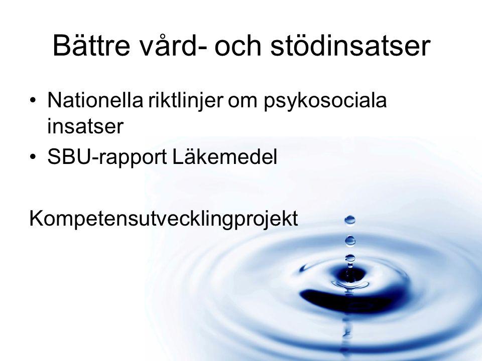 Bättre vård- och stödinsatser Nationella riktlinjer om psykosociala insatser SBU-rapport Läkemedel Kompetensutvecklingprojekt