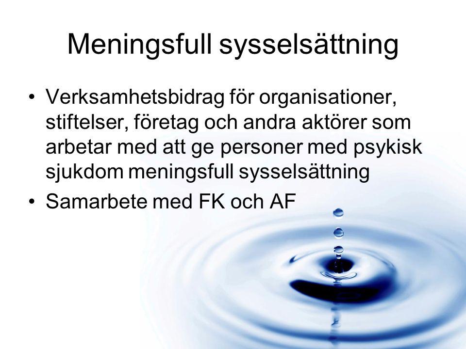 Meningsfull sysselsättning Verksamhetsbidrag för organisationer, stiftelser, företag och andra aktörer som arbetar med att ge personer med psykisk sjukdom meningsfull sysselsättning Samarbete med FK och AF
