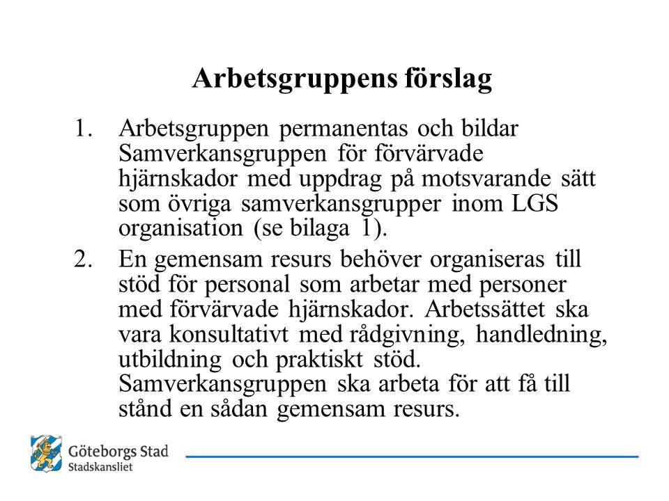 Arbetsgruppens förslag 1.Arbetsgruppen permanentas och bildar Samverkansgruppen för förvärvade hjärnskador med uppdrag på motsvarande sätt som övriga