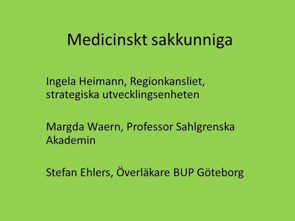 Styrgrupp Sven Ernstsson (sektorsrådet för BUP) Mats Leffler (Kungälv) Andreas Leschinger (sektorsrådet för psykiatri) Rutger Gram/Lars Paulsson (Folkhälsommitten) Monica Ericsson-Sjöström (sektorsrådet för allmänmedicin) Margda Waern (Sakkunnig)