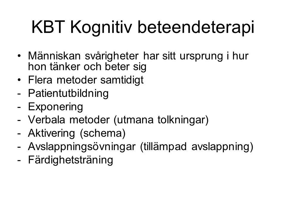 KBT Kognitiv beteendeterapi Människan svårigheter har sitt ursprung i hur hon tänker och beter sig Flera metoder samtidigt -Patientutbildning -Exponer