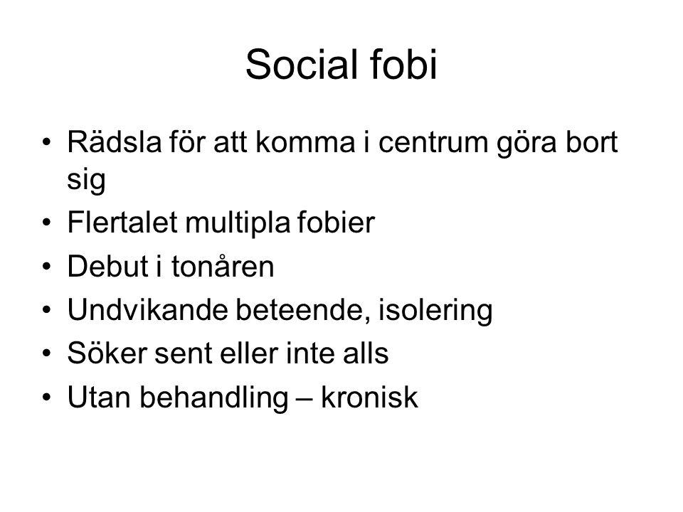 Social fobi Rädsla för att komma i centrum göra bort sig Flertalet multipla fobier Debut i tonåren Undvikande beteende, isolering Söker sent eller int