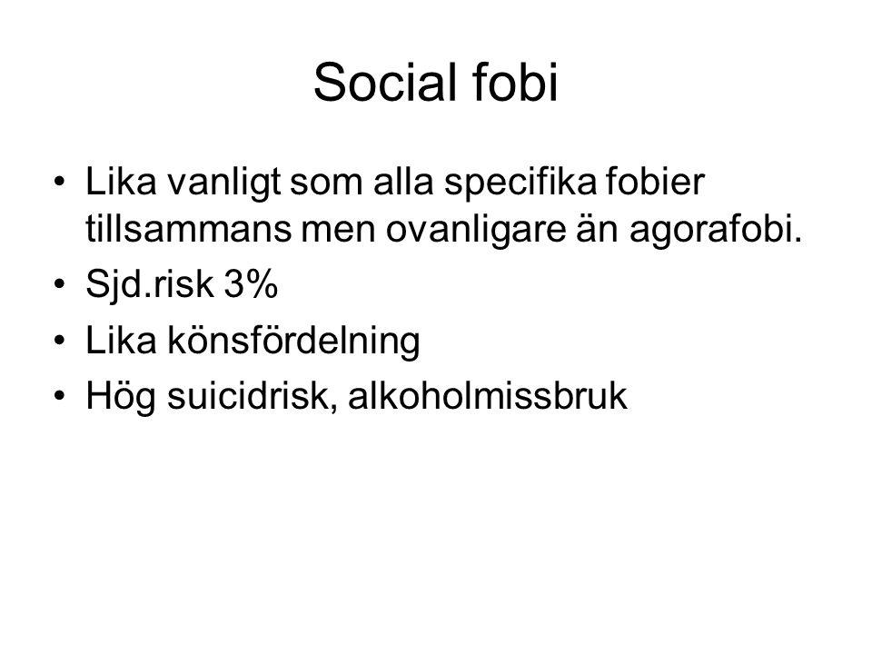 Social fobi Lika vanligt som alla specifika fobier tillsammans men ovanligare än agorafobi. Sjd.risk 3% Lika könsfördelning Hög suicidrisk, alkoholmis