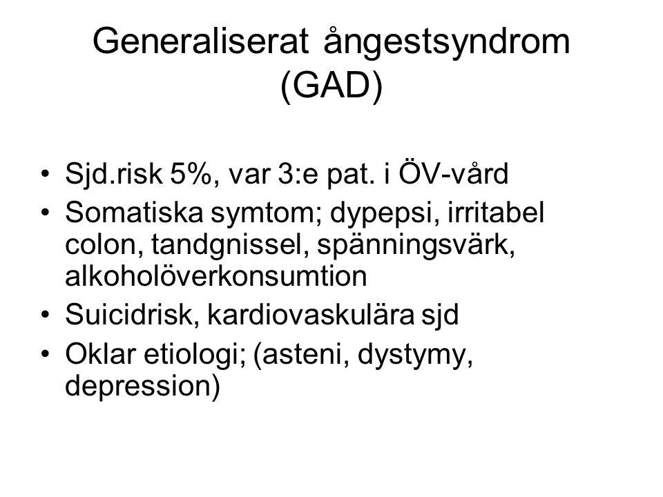 Generaliserat ångestsyndrom (GAD) Sjd.risk 5%, var 3:e pat. i ÖV-vård Somatiska symtom; dypepsi, irritabel colon, tandgnissel, spänningsvärk, alkoholö