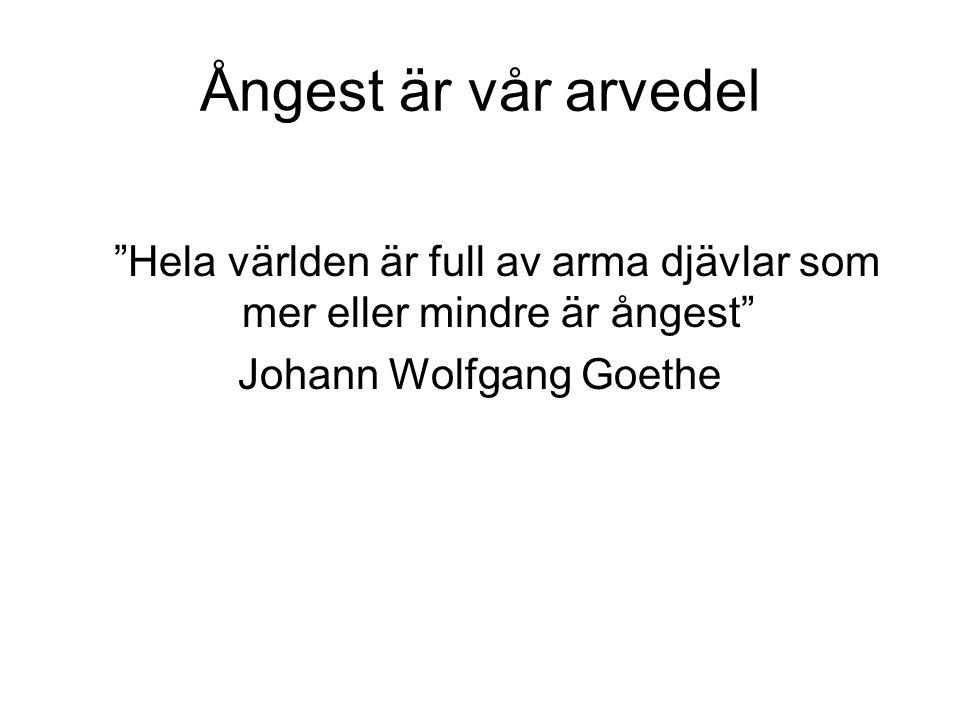 """Ångest är vår arvedel """"Hela världen är full av arma djävlar som mer eller mindre är ångest"""" Johann Wolfgang Goethe"""