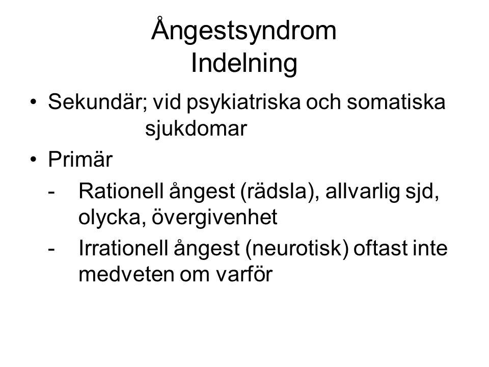 Ångestsyndrom Indelning Sekundär; vid psykiatriska och somatiska sjukdomar Primär -Rationell ångest (rädsla), allvarlig sjd, olycka, övergivenhet -Irr