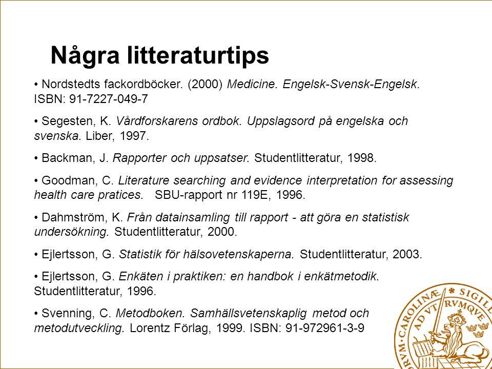 Några litteraturtips Nordstedts fackordböcker. (2000) Medicine. Engelsk-Svensk-Engelsk. ISBN: 91-7227-049-7 Segesten, K. Vårdforskarens ordbok. Uppsla