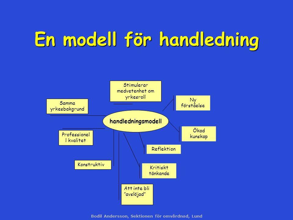 Bodil Andersson, Sektionen för omvårdnad, Lund En modell för handledning handledningsmodell Ny förståelse Ökad kunskap Reflektion Kritiskt tänkande Pr