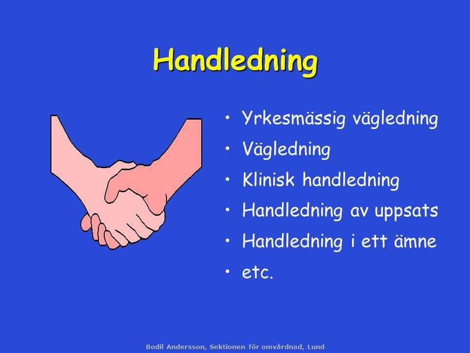 Bodil Andersson, Sektionen för omvårdnad, Lund Yrkesmässig vägledning Vägledning Klinisk handledning Handledning av uppsats Handledning i ett ämne etc