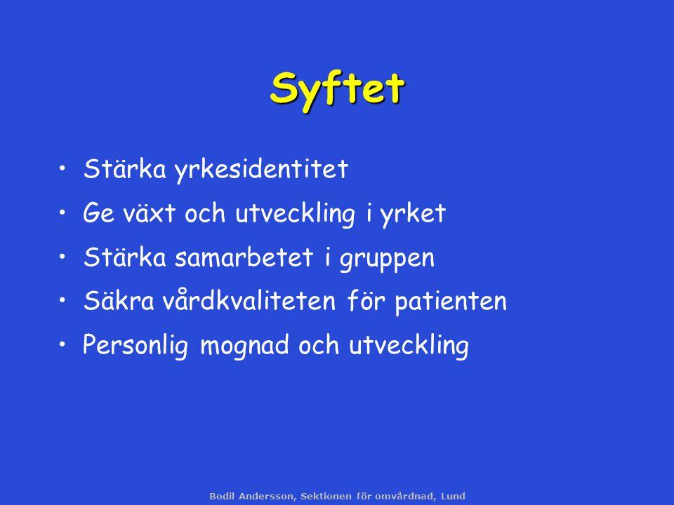 Bodil Andersson, Sektionen för omvårdnad, Lund Syftet Stärka yrkesidentitet Ge växt och utveckling i yrket Stärka samarbetet i gruppen Säkra vårdkvali