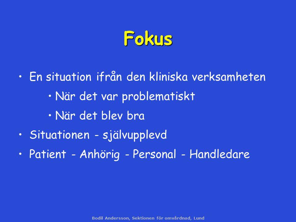 Bodil Andersson, Sektionen för omvårdnad, Lund Fokus En situation ifrån den kliniska verksamheten När det var problematiskt När det blev bra Situation