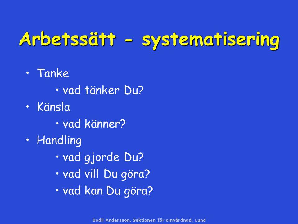Bodil Andersson, Sektionen för omvårdnad, Lund Arbetssätt - systematisering Tanke vad tänker Du? Känsla vad känner? Handling vad gjorde Du? vad vill D