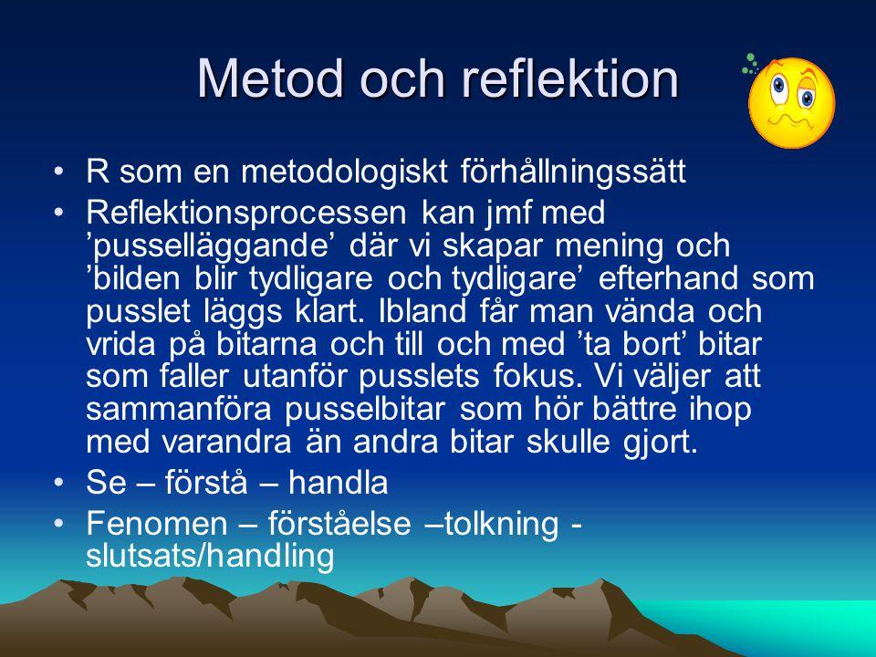 Metod och reflektion R som en metodologiskt förhållningssätt Reflektionsprocessen kan jmf med 'pusselläggande' där vi skapar mening och 'bilden blir tydligare och tydligare' efterhand som pusslet läggs klart.