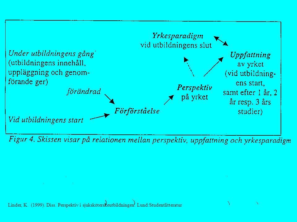 Linder, K. (1999). Diss. Perspektiv i sjuksköterskeutbildningen. Lund:Studentlitteratur