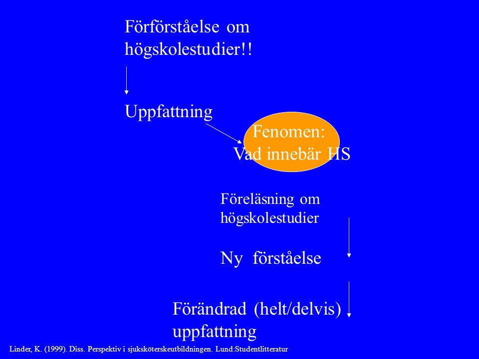 Förförståelse om högskolestudier!.