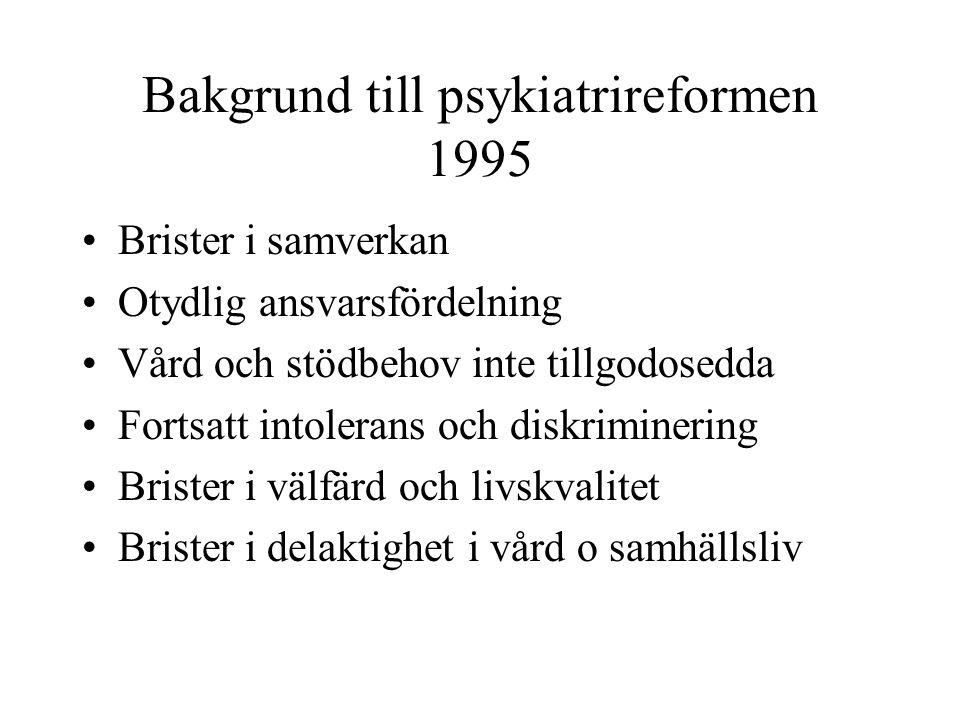 Bakgrund till psykiatrireformen 1995 Brister i samverkan Otydlig ansvarsfördelning Vård och stödbehov inte tillgodosedda Fortsatt intolerans och diskr