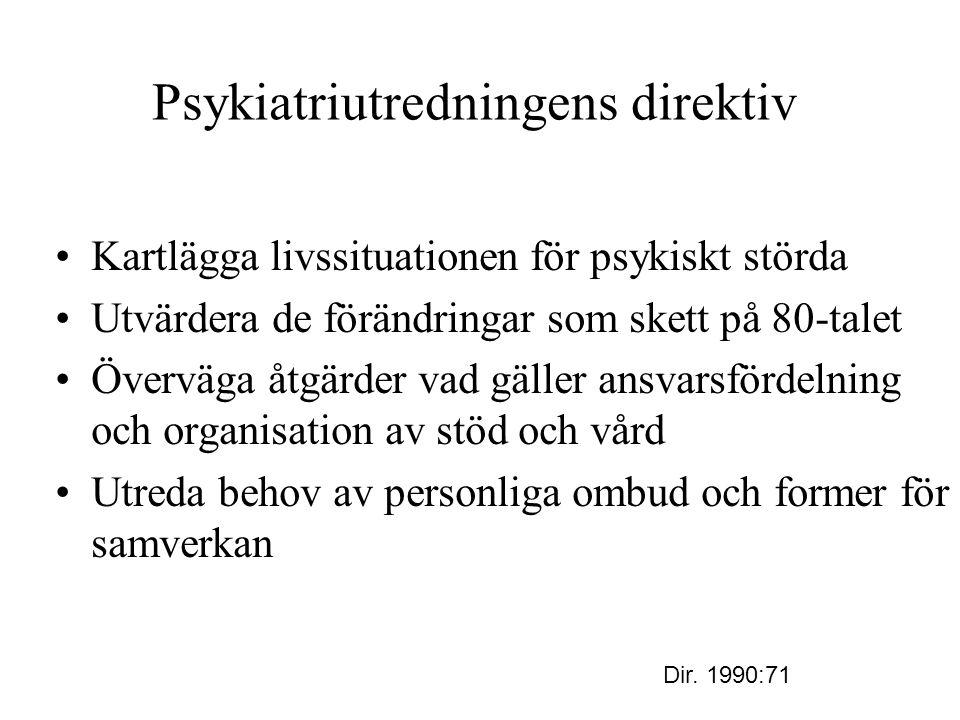 Psykiatriutredningens direktiv Kartlägga livssituationen för psykiskt störda Utvärdera de förändringar som skett på 80-talet Överväga åtgärder vad gäl