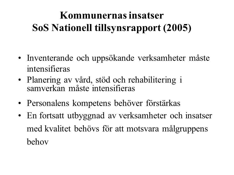 Kommunernas insatser SoS Nationell tillsynsrapport (2005) Inventerande och uppsökande verksamheter måste intensifieras Planering av vård, stöd och reh