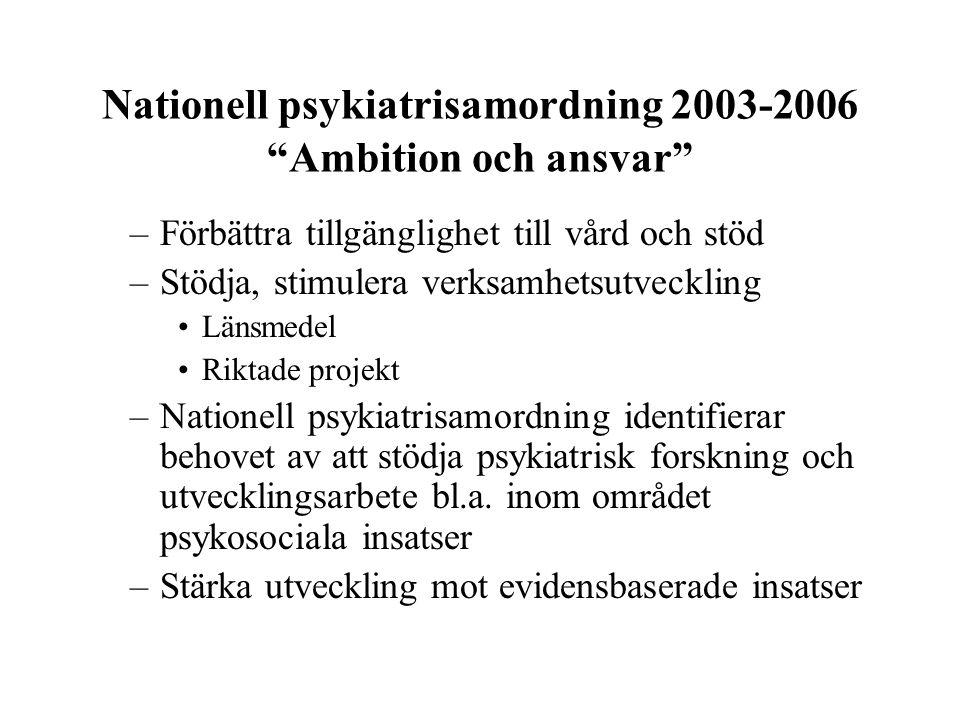 """Nationell psykiatrisamordning 2003-2006 """"Ambition och ansvar"""" –Förbättra tillgänglighet till vård och stöd –Stödja, stimulera verksamhetsutveckling Lä"""