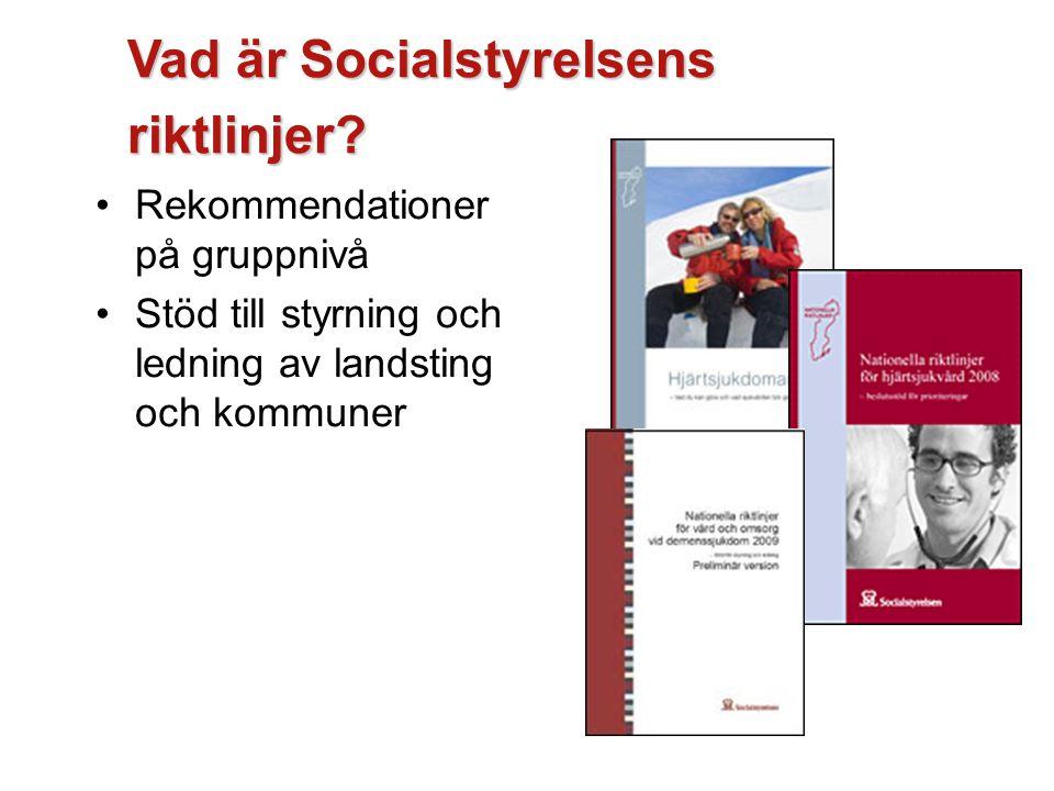 Vad är Socialstyrelsens riktlinjer? Rekommendationer på gruppnivå Stöd till styrning och ledning av landsting och kommuner