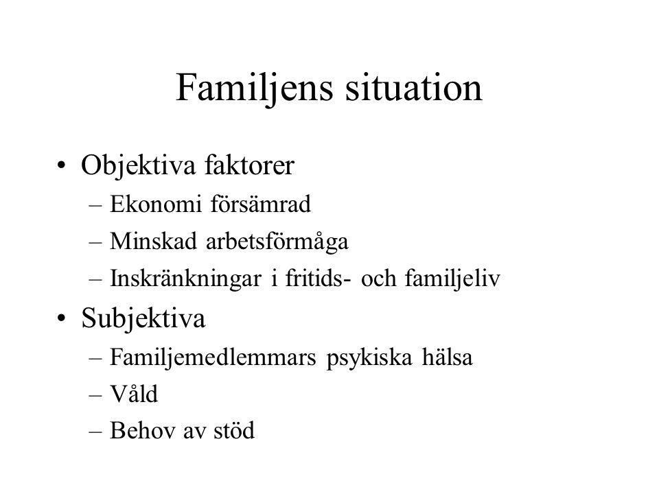 Familjens situation Objektiva faktorer –Ekonomi försämrad –Minskad arbetsförmåga –Inskränkningar i fritids- och familjeliv Subjektiva –Familjemedlemma
