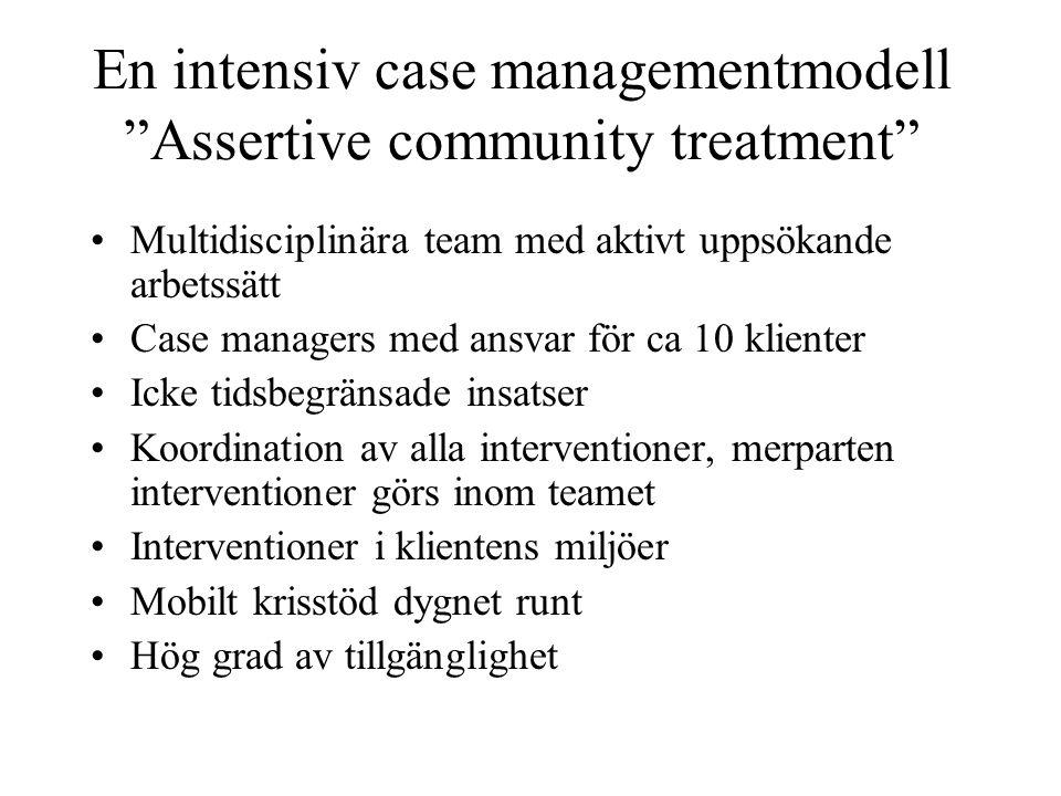 """En intensiv case managementmodell """"Assertive community treatment"""" Multidisciplinära team med aktivt uppsökande arbetssätt Case managers med ansvar för"""