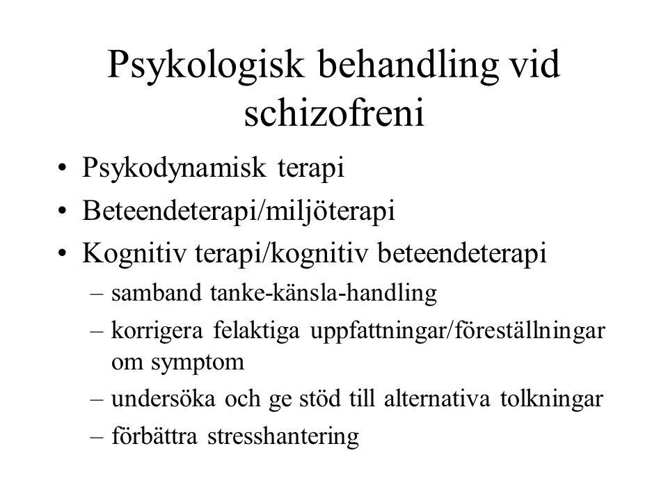 Psykologisk behandling vid schizofreni Psykodynamisk terapi Beteendeterapi/miljöterapi Kognitiv terapi/kognitiv beteendeterapi –samband tanke-känsla-h
