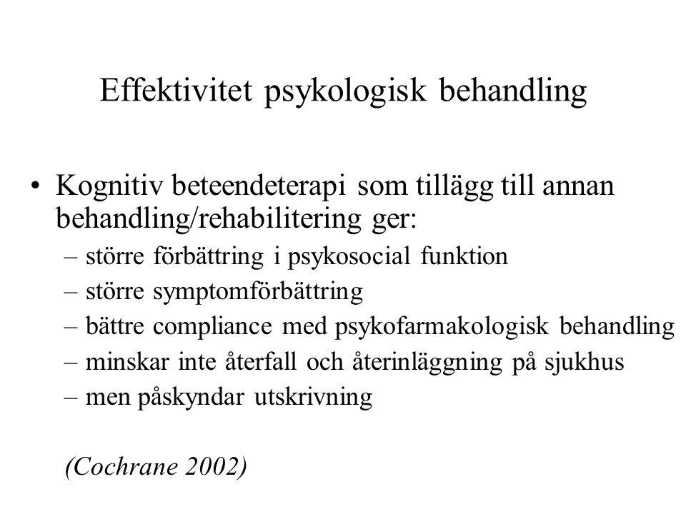 Effektivitet psykologisk behandling Kognitiv beteendeterapi som tillägg till annan behandling/rehabilitering ger: –större förbättring i psykosocial fu