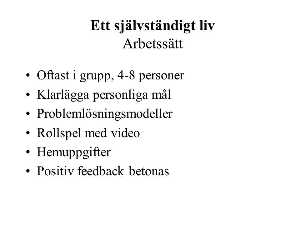 Ett självständigt liv Arbetssätt Oftast i grupp, 4-8 personer Klarlägga personliga mål Problemlösningsmodeller Rollspel med video Hemuppgifter Positiv