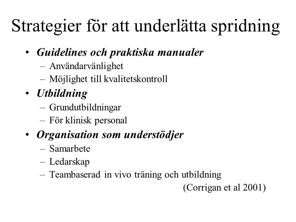 Strategier för att underlätta spridning Guidelines och praktiska manualer –Användarvänlighet –Möjlighet till kvalitetskontroll Utbildning –Grundutbild