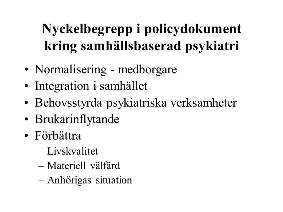 Avinstitutionaliseringen av den psykiatriska vården Sektorisering o inriktning mot öppenvård (1980-talet) Psykiatriska kliniker med: –Avgränsat geografiskt upptagningsområde –Befolkningsansvar –Ansvar för alla vårdnivåer –Öppenvård i tvärdisciplinära team –Förebyggande arbete