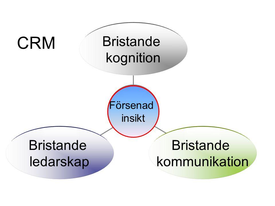 Bristande kognition Bristande kommunikation Bristande ledarskap Försenad insikt CRM