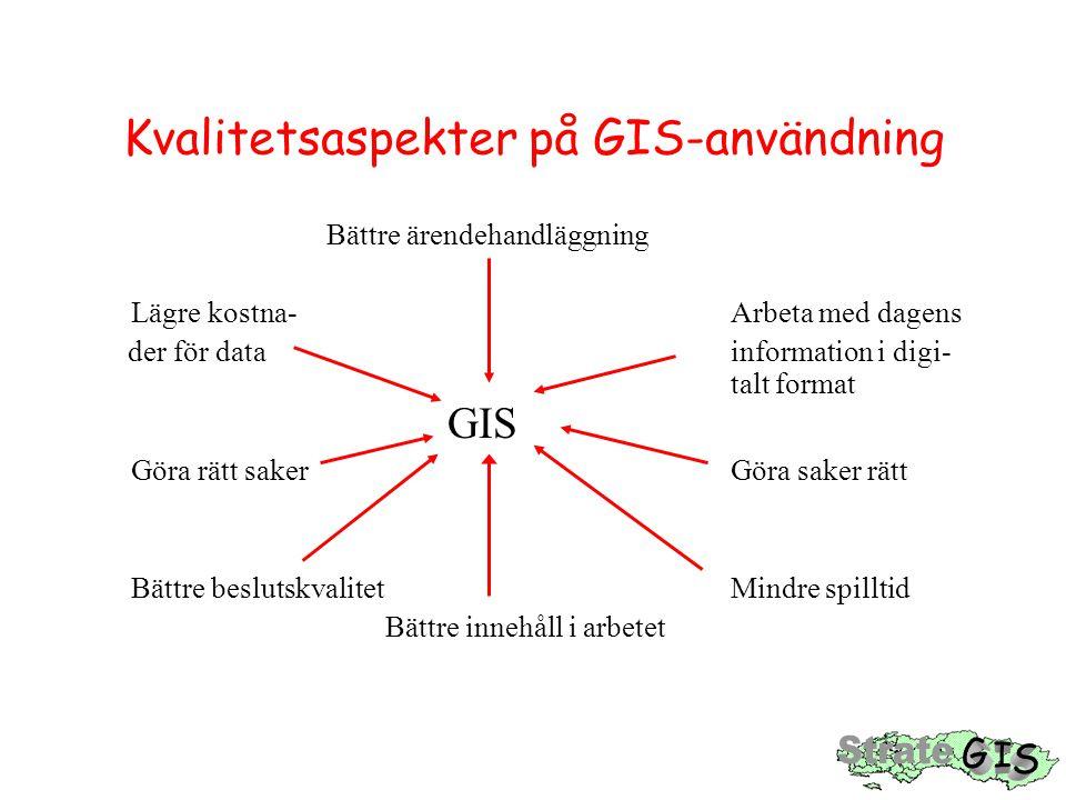 Kvalitetsaspekter på GIS-användning Bättre ärendehandläggning Lägre kostna- Arbeta med dagens der för data information i digi- talt format GIS Göra rätt saker Göra saker rätt Bättre beslutskvalitet Mindre spilltid Bättre innehåll i arbetet